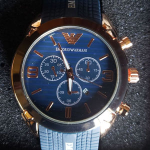 EMPORIO ARMANI AR5905 ROSE GOLD BLUE WATCH NEW